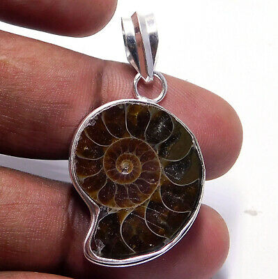 Ammonite fossil 925 Sterling Silver Plated Handmade Jewelry Pendant 8 Gm