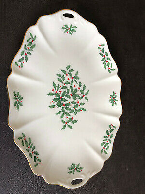 RARE Lenox Holiday Serving Platter Christmas China Porcelain Dish Holly Berries