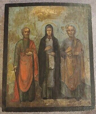 Antique 19th Russian Hand Painted Wood Orthodox Icon (3) Three Wise Men / Angels