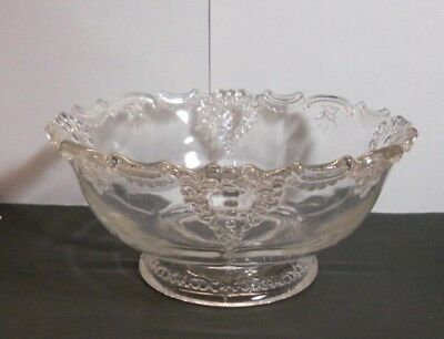 Vintage Depression Glass Footed Bowl~ Scalloped Edge ? Pattern