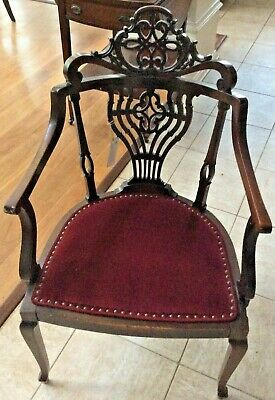 Red Velvet Laced Back Chair.