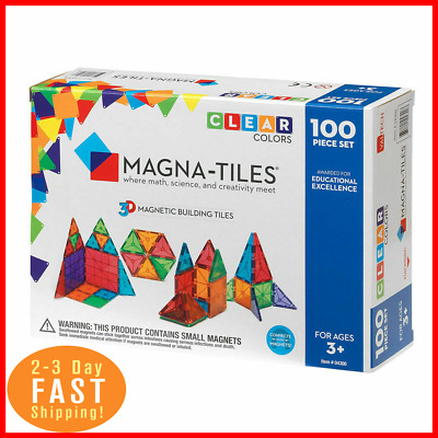 Magna-Tiles 100pc Clear Color 3D Magnetic Building Tiles Set for Kids 3 and up