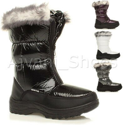 Womens Ladies Zip Winter Snow Padded Fur Lined Ski Calf Fashion Boots Size