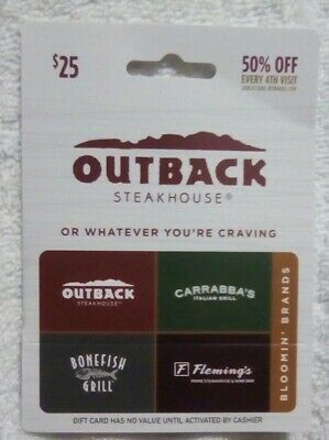 OUTBACK STEAKHOUSE Gift Card $25. Activated and Ready to Use. Also Use @ 3 More