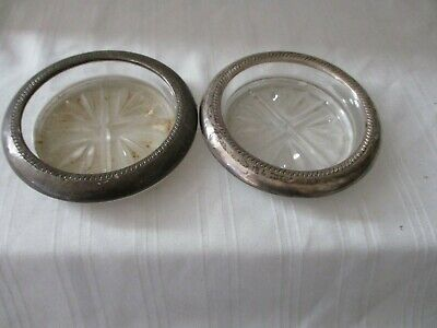 "FB Rogers Silver Co lot of two glass coasters 3.75"" across"