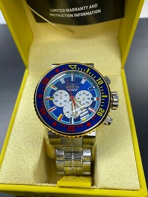 Invicta Men's Watch Pro Diver Chrono Blue and Silver Tone Bezel Bracelet 27661