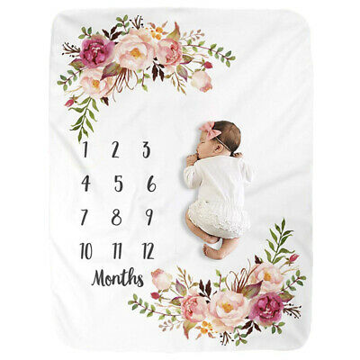Baby Girl Boy Floral Cotton Blanket Milestone Photography Photo Props Mats AU