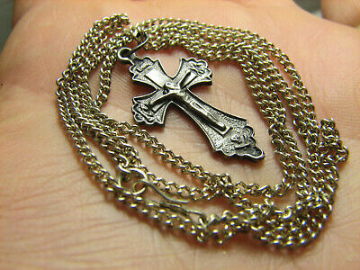 CRUCIFIXION ! STERLING SILVER  VINTAGE CROSS PENDANT with CHAIN #1529