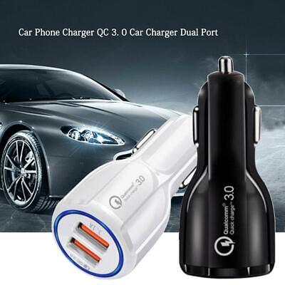 QC3.0 Car Dual USB Charger Cigarette Lighter Socket Splitter 12-24V Power Adapte