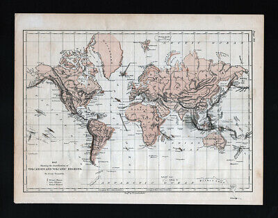 1873 Steinwehr Physical World Map Volcanoes Volcanic Activity Regions Ring Fire