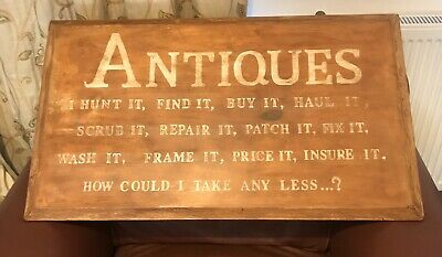 Antiques Sign,Vintage Hand Painted Solid Wooden Sign.