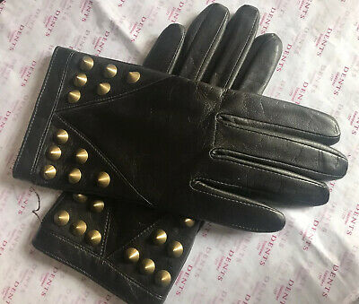 Dents Ladies Mocha Brown Studded Lined Leather Gloves Size 6.5 Small Bnwot