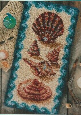 Rare Circa 2000 J P Coats Sea Shell Collection Latch Hook Rug Kit 41Cm X 81Cm