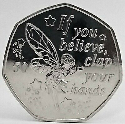 2019 Tinkerbell Peter Pan 50p coin Isle of Man from Sealed Bag Unc
