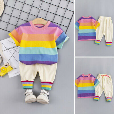 Boys Kids outfit Girls Baby Drawstring Kids outfit Lovely 2pcs/Set Tops+Pants