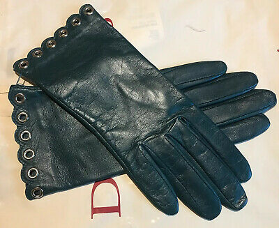 Dents Ladies Green Soft Leather Silk Lined Gloves Size 7 Medium Bnwt