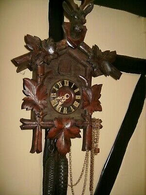 Cuckoo Clock Beautiful Stag Head And Very Carved Need Slight Attention
