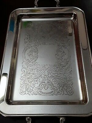 Leonard Silver Plated 13.5 X 9 Footed Butler Serving Tray