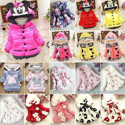 Toddler Baby Kids Girls Snowsuit Winter Warm Hooded Jacket Coat Hoodies Outwear