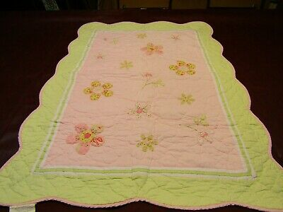 PB Pottery Barn Kids Daisy Floral Appliqued Crib Quilt Pink & Green Reversible