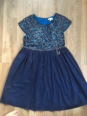 MINI BODEN Navy Blue Sequinned Party Occasion Dress Age 11/12 VGC