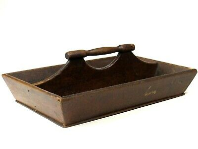 Antique Knife Tray Box Cutlery Silverware Hand Made Carved Wood Old Kitchen Tool