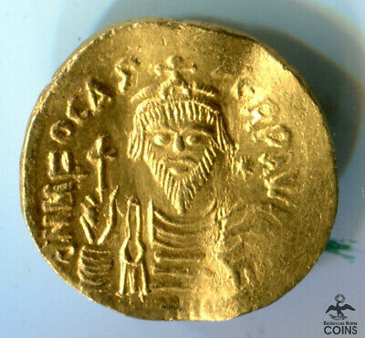 607-610 AD Byzantine Constantinople Mint Gold Solidus Phocas Coin