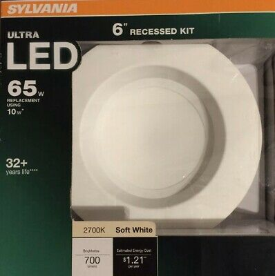 """LED 6"""" Recessed Kit-Indoor/Outdoor Wet Rated-Dimmable-Sylvania Ultra-Wide 65W"""