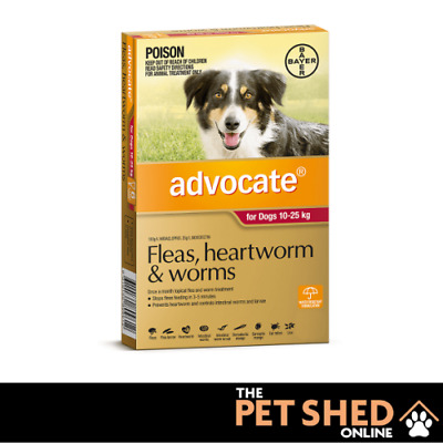Advocate Fleas, Heartworm, Worm Red Large Dogs 10 - 25kg  3 or 6 Pipettes Bayer