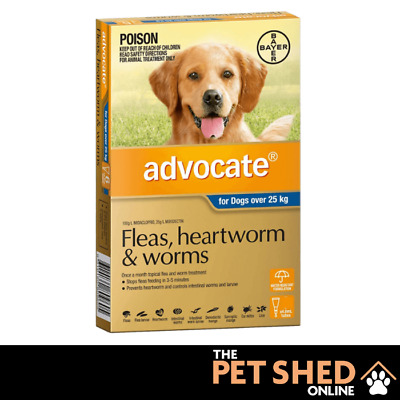 Advocate for Dogs Fleas, Heartworm, Worm Control Over 25kg 3 or 6 Pipettes BLUE