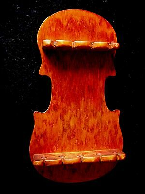 9 collectible spoons violin shape wood rack hanging wall display holder spoon