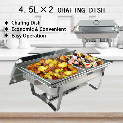 9L Bain Marie Chafing Dish Stainless Steel Food Warmer Stackable Set Tray AU