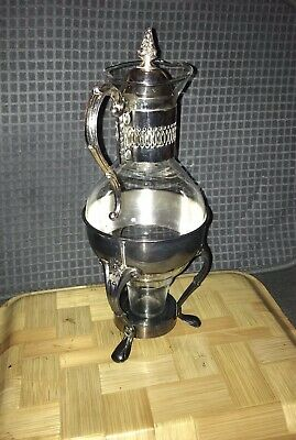 Vintage Silver Plated Glass Coffee Tea Pot Carafe W/Candle Stand Warmer Holder