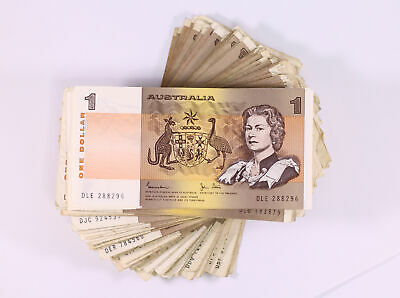 100x Circulated Australian $1 One Dollar Paper Banknotes D11-2546