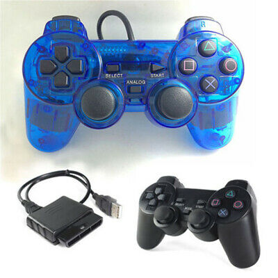 Wired Dual Shock Controller Blue Black for PS2 PlayStation Joypad Gamepad