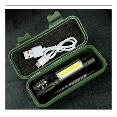 LED Torch USB Rechargeable Flashlight Police Zoom Camping Hiking Lamp Small UK