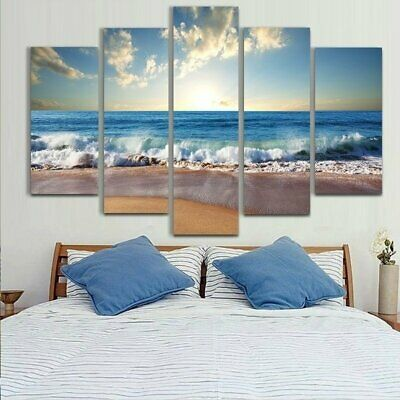5Pcs Sunset Beach Canvas Oil Print Painting Picture Home Wall Art Decor Framed