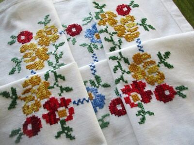 VINTAGE TABLECLOTH HAND EMBROIDERED with VIBRANT FLOWERS - LINEN