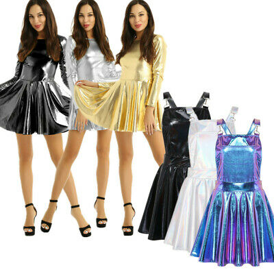 Women''s Shiny Metallic Mini Dress A-line Evening Party Cocktail Clubwear Dress