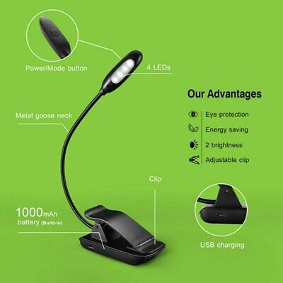 Mpow 4 LED Book Reading Light Clip on Rechargeable 3-level Brightness Lamp New M