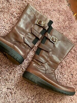Ladies CLARKS UNSTRUCTURED Comfort Brown Soft Leather Mid Calf Boots, UK Size 7