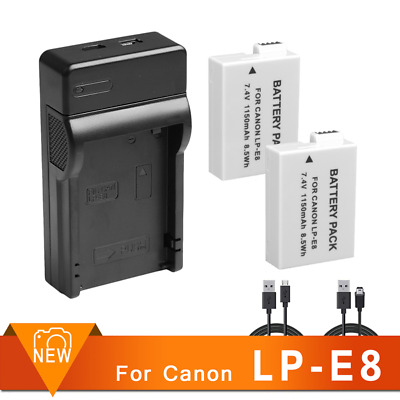 2XFULLY DECODED LP-E8 LPE8 Battery+USB CHARGER for Canon EOS 700D 650D 600D 550D