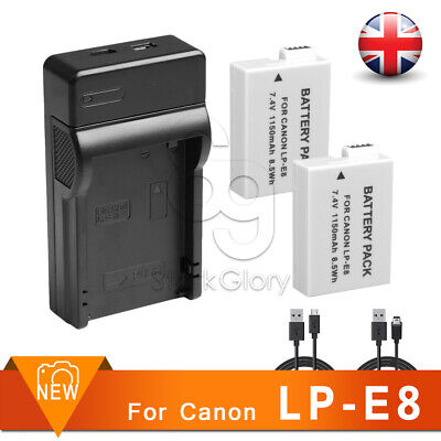 2XFULLY DECODED LP-E8 Battery+USB CHARGER for Canon EOS 700D 650D 600D 550D LPE8