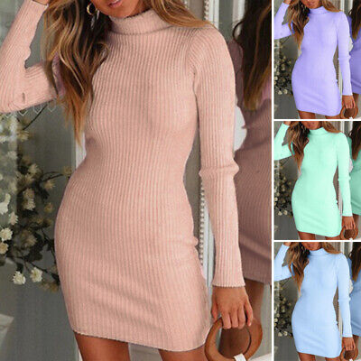 Womens High Neck Slim Dress Sexy Knitted Long Sleeve Evening Party Mini Bodycon