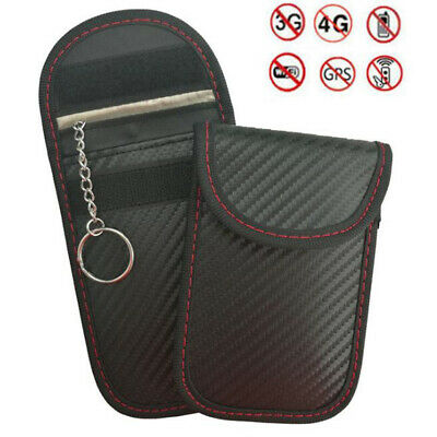 1XPortable Signal Blocker Car Key Case  RFID Blocking Bag with Key Chain Ring UK