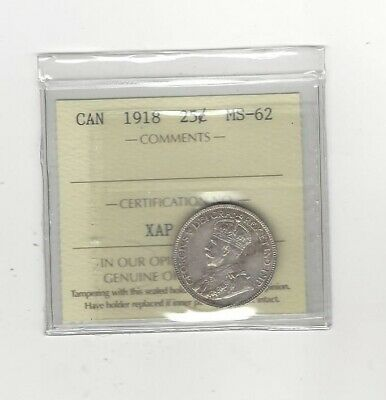 1918, ICCS Graded Canadian, 25 Cent, **MS-62**
