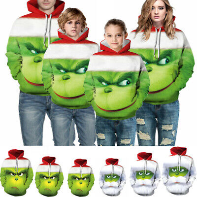 The Grinch Men Women Boys Girls Christmas Xmas Sweatshirt Hooded Fancy Costumes