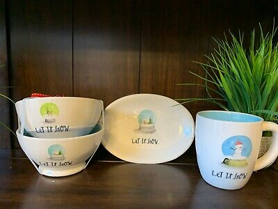 """Rae Dunn """"Let it Snow"""" Collection Mugs, Bowls and Oval Plates You Choose"""