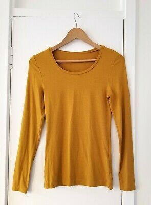 M&S Heatgen Dark Gold/Mustard Long Sleeve Thermal Vest Top, 12