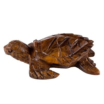 """Unique Hand Carved Wood Ironwood Small Sea Turtle Figurine Carving 3"""" Long"""